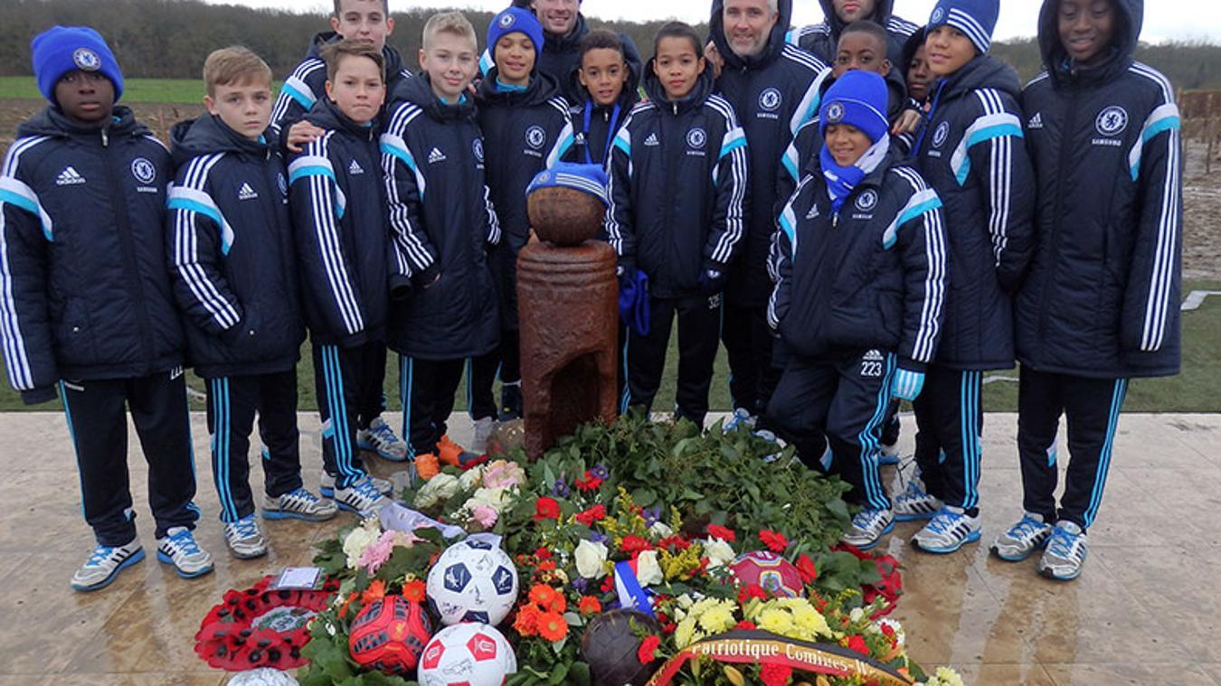 Chelsea's Under-12 team at the Christmas Truce Memorial near Ploegsteert
