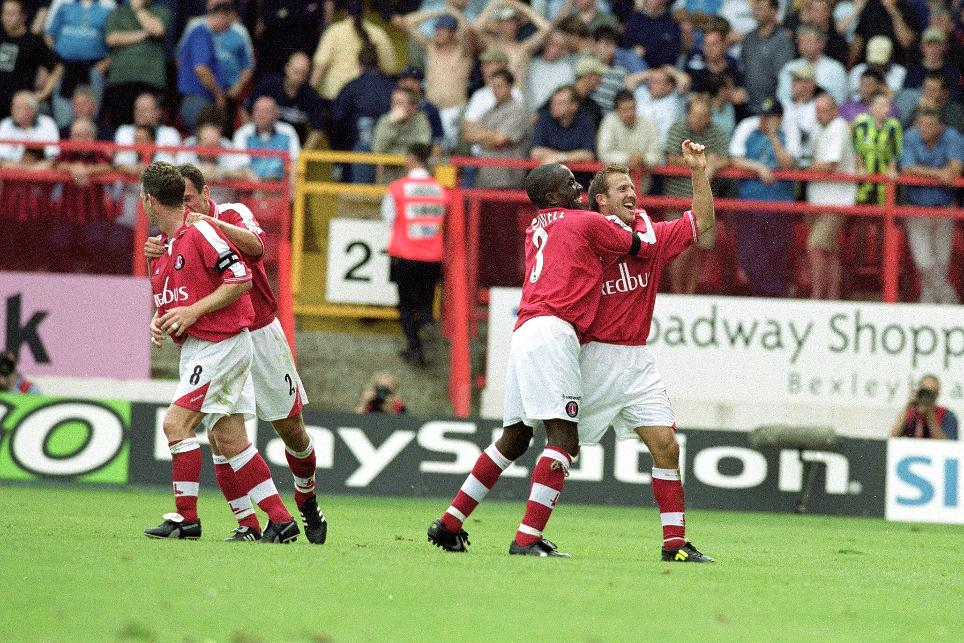 Charlton celebrate a 4-0 opening-day win over Man City in 2000/01