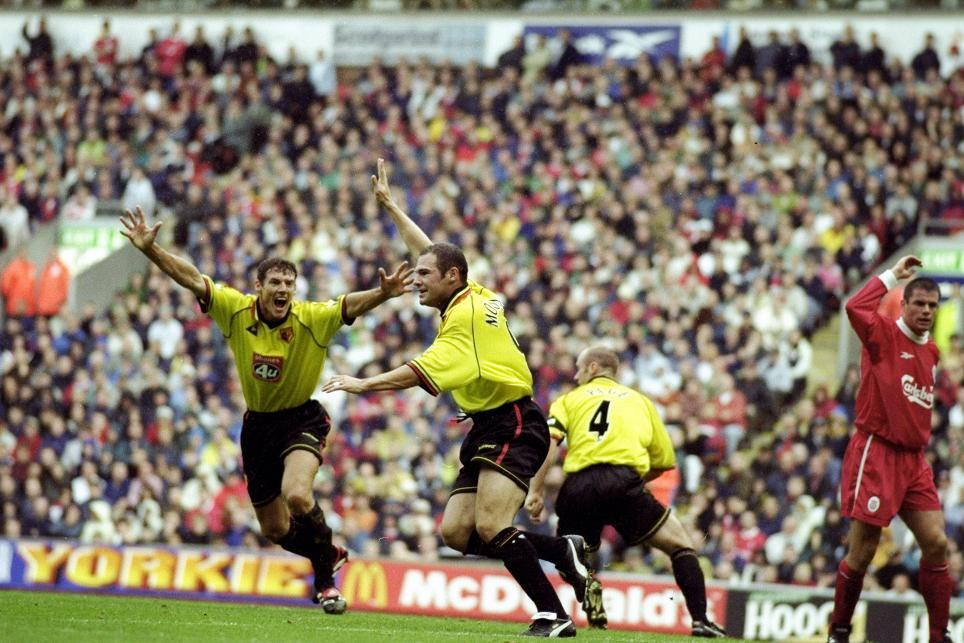 Tommy Mooney celebrates giving Watford a shock win at Anfield