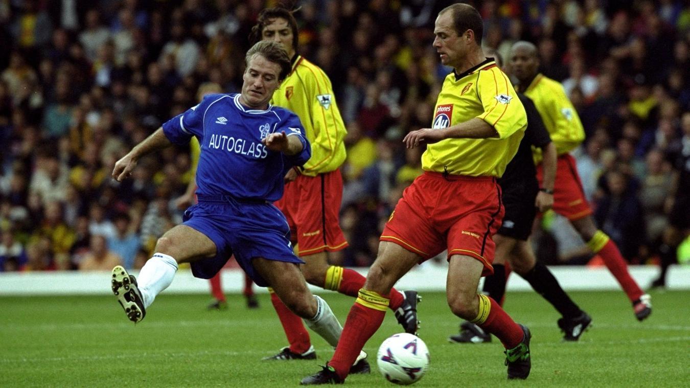 Steve Palmer on the ball against Chelsea's Didier Deschamps