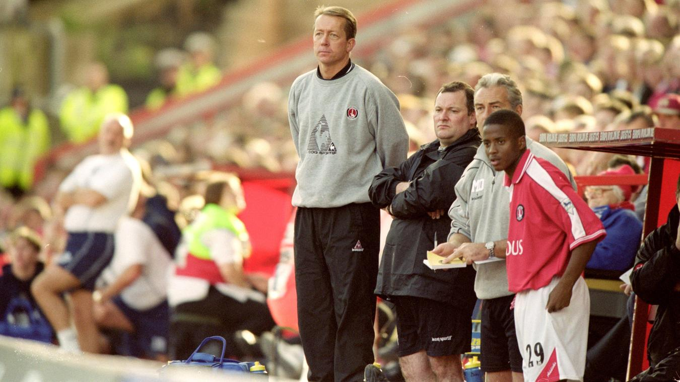 Alan Curbishley looks on as Charlton manager in 2000/01