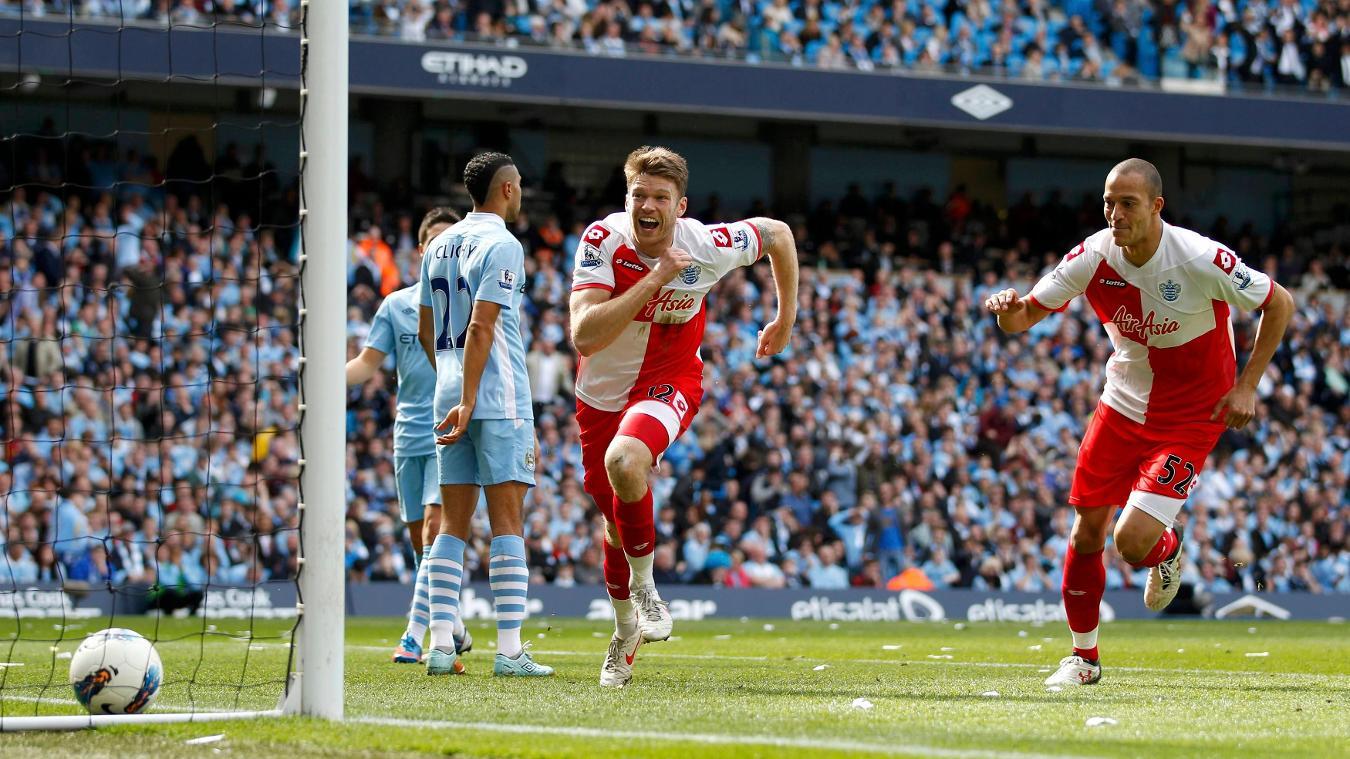 Jamie Mackie celebrates giving QPR a shock 2-1 lead, despite being down to 10 men