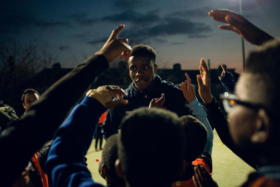 Wilfried Zaha visits Premier League Kicks in Croydon