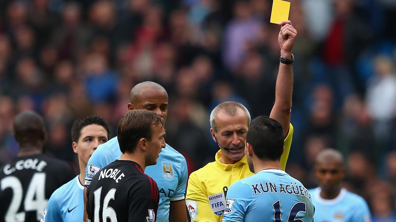 Sergio Aguero's yellow card against West Ham was nearly costly